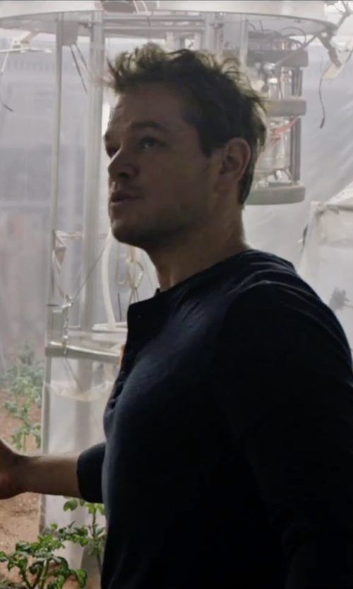 Matt Damon with Theory Nebulous Slub Henley Shirt in The Martian
