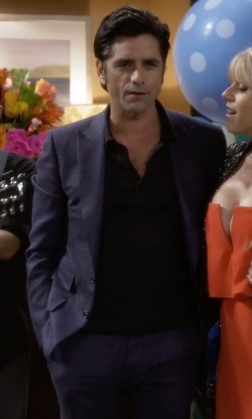 John Stamos with Tallia Solid Slim-Fit Suit in Fuller House