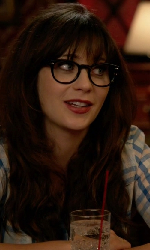 Zooey Deschanel with Joie Cartel Plaid Roll-Sleeve Blouse in New Girl