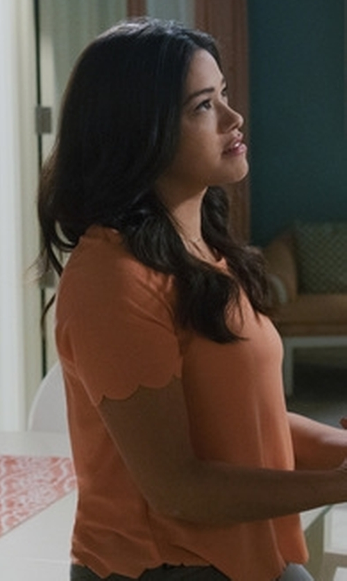 Gina Rodriguez with Topshop Scallop Frill Tee in Jane the Virgin