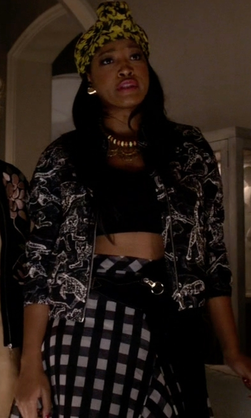 Keke Palmer with Juliet's Kiss Gingham Full Skirt Ladies in Scream Queens