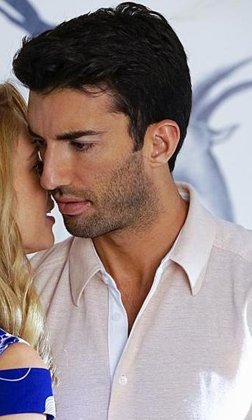 Justin Baldoni with Theory Zack Linen-Blend Long-Sleeve Shirt in Jane the Virgin