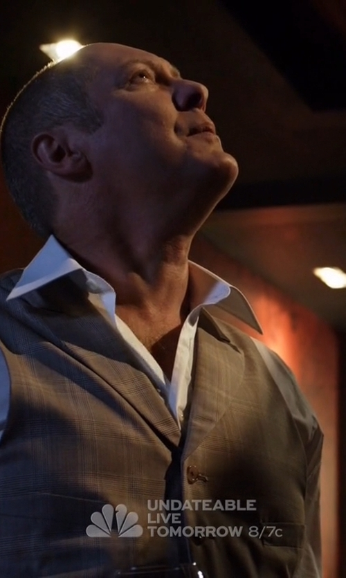 James Spader with TheLees Slim Fit Chain Point 3 Button Vest in The Blacklist