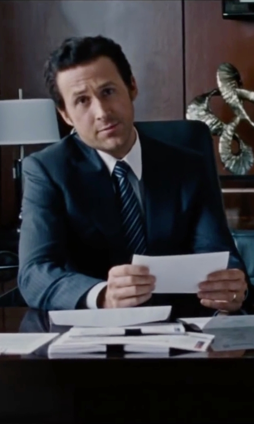 Ryan Gosling with Canali Stripe Silk Tie in The Big Short