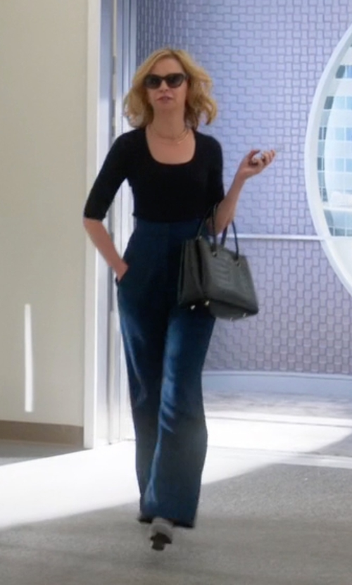 Calista Flockhart with MSGM High-Waist Flared Trousers   in Supergirl