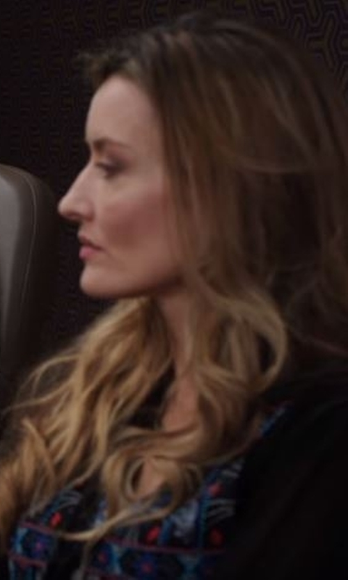 Natascha McElhone with Versace Collection Sea Animal Print Cardigan in Designated Survivor