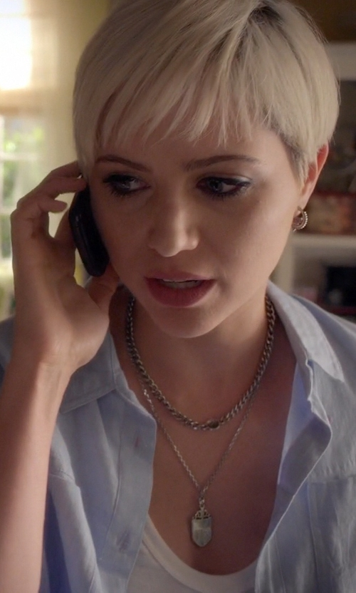 Dre Davis with Sabrina Silver Sterling Silver Rolo Chain Necklace in Pretty Little Liars