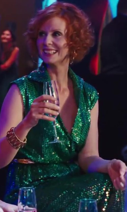 Cynthia Nixon with Halston Emerald Green Sequin Gown in Sex and the City 2