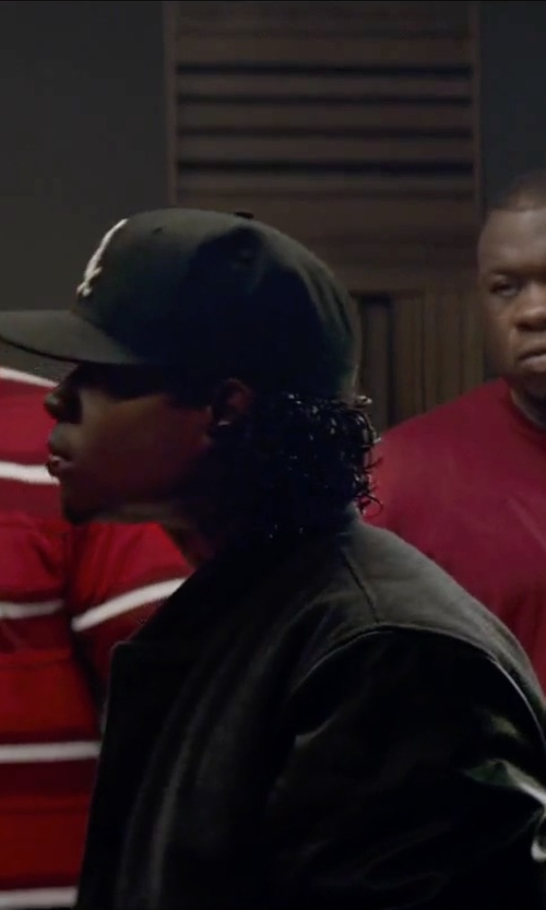 Jason Mitchell with Alfani Men's Ribbed Bomber Jacket in Straight Outta Compton