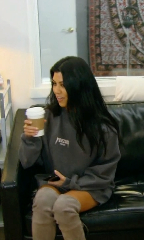 Kourtney Kardashian with Kanye West Yeezus Tour Sweatshirt in Keeping Up With The Kardashians