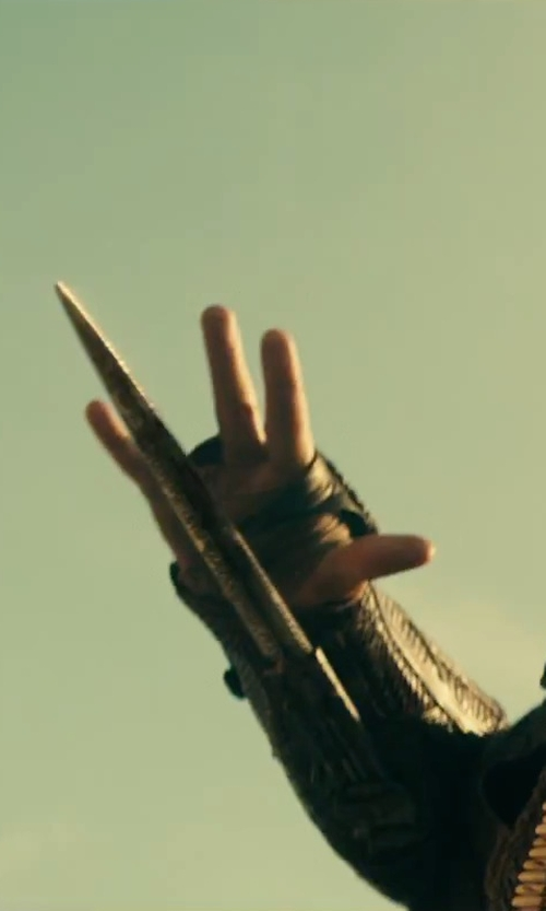 Michael Fassbender with Assassin's Creed Assassin's Creed Syndicate Hidden Blade Gauntlet in Assassin's Creed