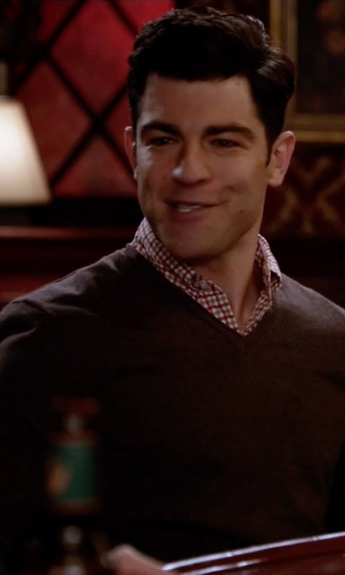 Max Greenfield with Brooks Brothers Merino Wool V-Neck Sweater in New Girl