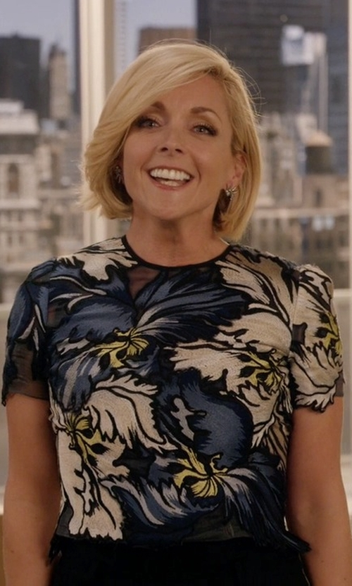 Jane Krakowski with Oscar De La Renta Crocheted Floral Appliqué Lace Top in Unbreakable Kimmy Schmidt