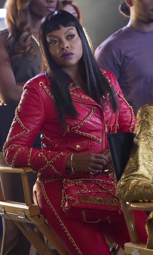 Taraji P. Henson with Moschino Resort 2016 Red Chain Jacket in Empire