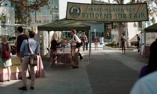 Unknown Actor with Los Angeles City College (Depicted as Braxton University) Los Angeles, California in Neighbors