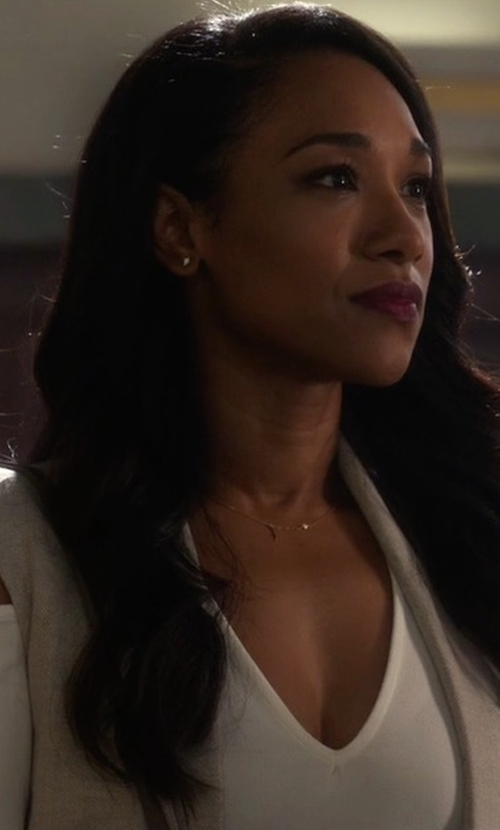 Candice Patton with Dynamite Deep V-Neck Cold Shoulder Bodysuit in The Flash