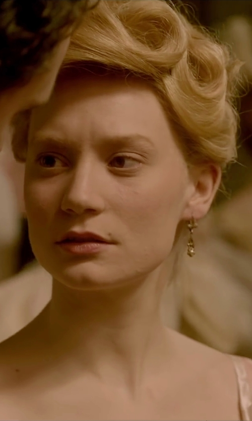 Mia Wasikowska with Jose & Maria Barrera Hammered Ball-Drop Clip-On Earrings in Crimson Peak