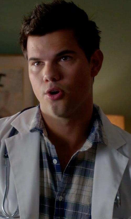 Taylor Lautner with Peter Millar Peninsula Plaid Sport Shirt in Scream Queens
