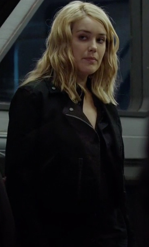 Megan Boone with Hudson Jeans Cynic Moto Jacket in The Blacklist