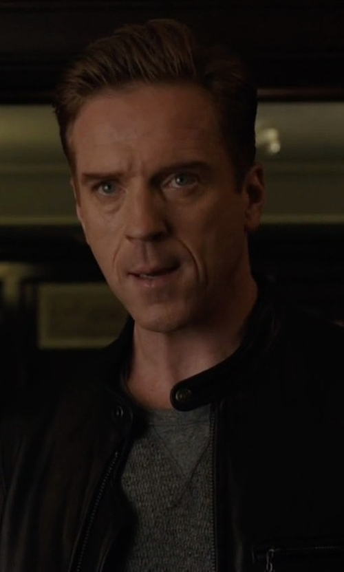 Damian Lewis with Boss Classic Leather Biker Jacket in Billions