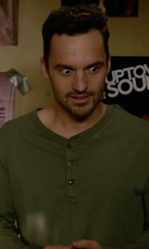 Jake Johnson with Billy Reid 'Sanders' Henley Shirt in New Girl