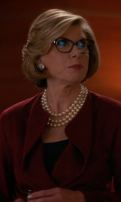 Christine Baranski with Pearlustre By Imperial Freshwater Cultured Pearl Long Necklace in The Good Wife
