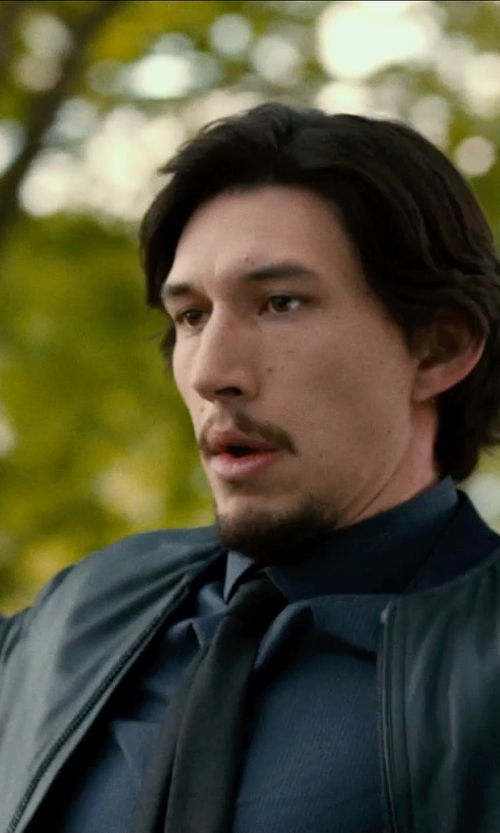 Adam Driver with TOPMAN Black Faux Leather Bomber Jacket in This Is Where I Leave You