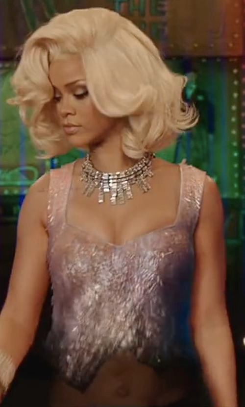 Rihanna with Charlotte Russe Sequin Bustier Crop Top in Valerian and the City of a Thousand Planets