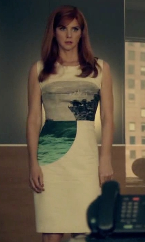 Sarah Rafferty with Maggy London Placed Print Scuba Dress in Suits