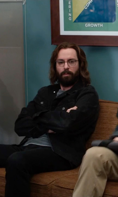 Martin Starr with Jean Shop Slim-Fit Denim Jacket in Silicon Valley