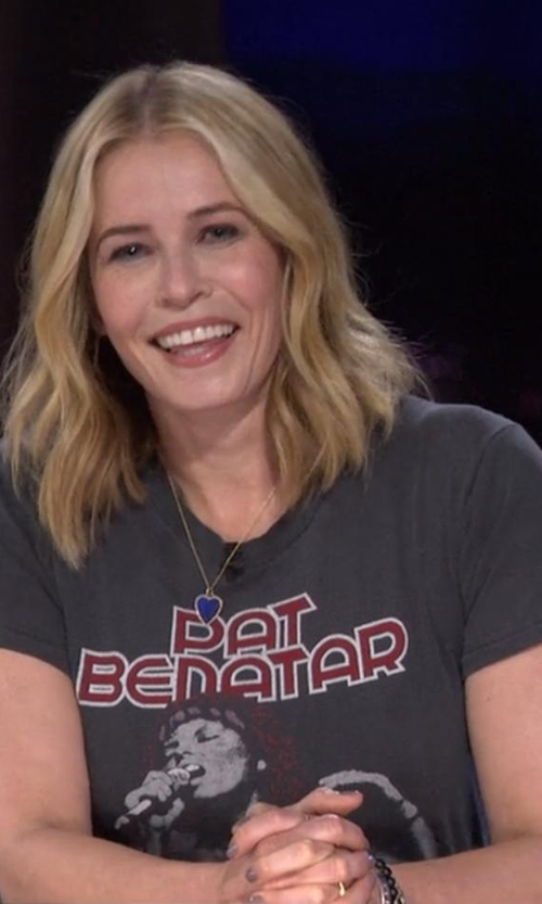 Chelsea Handler with Pat Benatar Vintage Black Rock Concert Tour T-Shirt in Chelsea