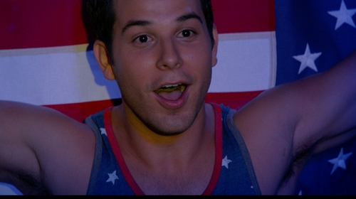 Skylar Astin with American Eagle Stars and Stripes Tank in Pitch Perfect 2