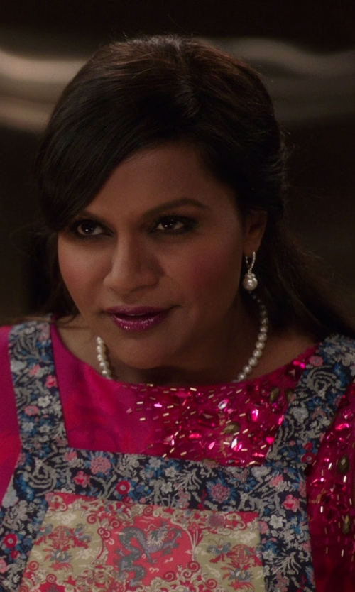 Mindy Kaling with Lela Rose Metallic Space-Dyed Full-Skirt Dress in The Mindy Project
