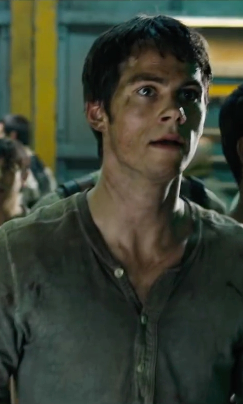 Dylan O'Brien with J.Crew Homespun Knitwear Coalminer Contrast Henley in Maze Runner: The Scorch Trials