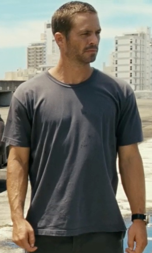 Paul Walker with Rag & Bone Crew Neck T-Shirt in Fast Five