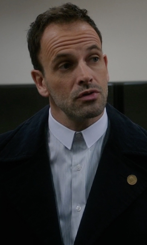 Jonny Lee Miller with Cego Custom Made Contrast Collar Stripe Shirt in Elementary