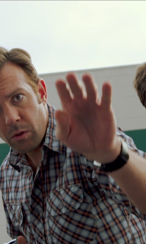 Jason Sudeikis with Steven Alan Plaid Classic Collegiate Shirt in Horrible Bosses 2