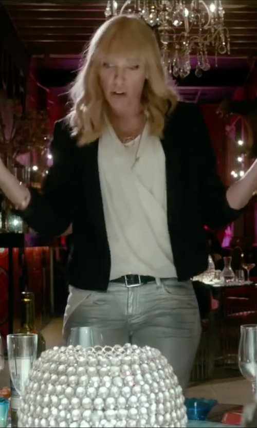 Toni Collette with Ann Taylor Petite Sleeveless Wrap Blouse in Miss You Already