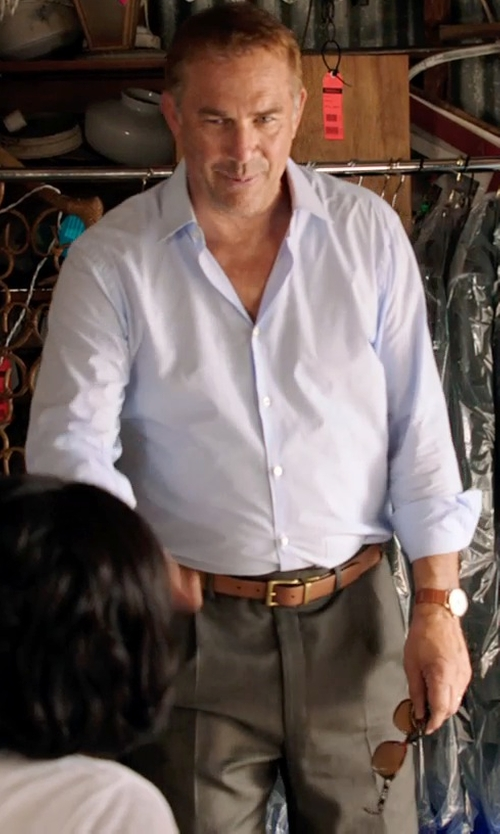 Kevin Costner with Theory Sylvain Solid Dress Shirt in Black or White