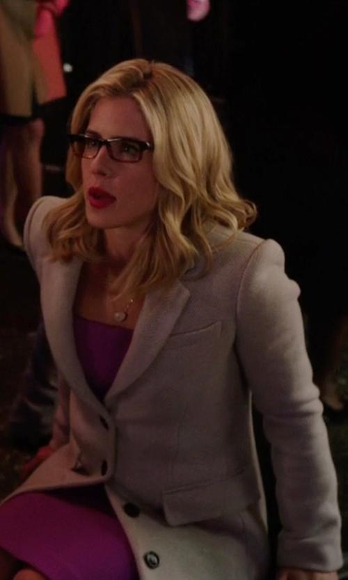 Emily Bett Rickards with Mia Single Breasted Coat in Arrow