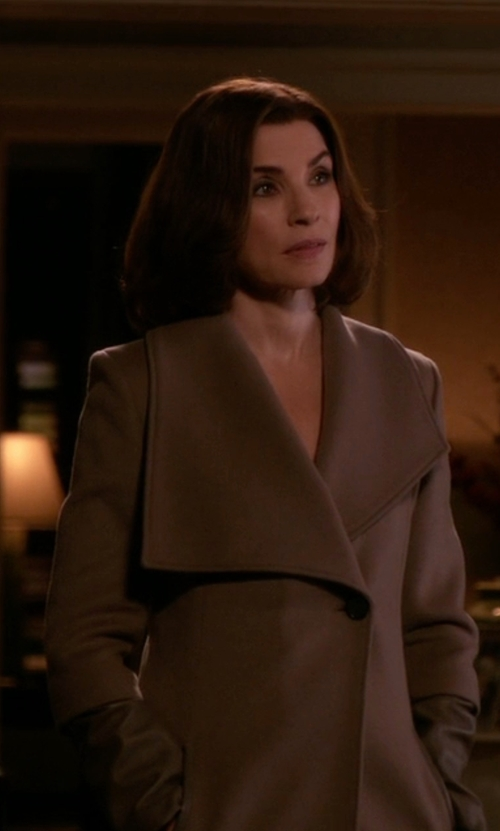 Julianna Margulies with BCBGMAXAZRIA Cameron Wrapped Trench Coat in The Good Wife