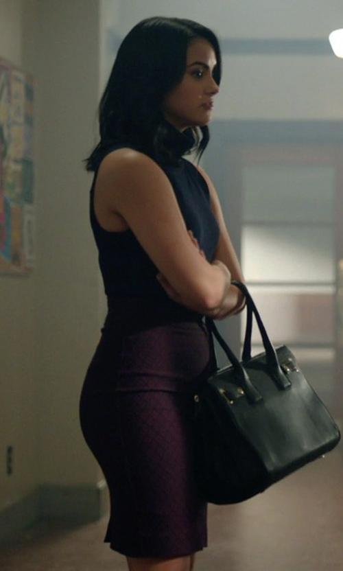 Camila Mendes with RW & Co. Modern Stretch Diamond Pattern Pencil Skirt in Riverdale