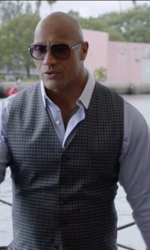 Dwayne Johnson with Stefano Ricci Contrast-Collar Stitch-Striped French-Cuff Dress Shirt in Ballers