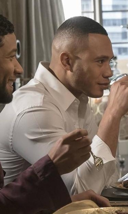 Trai Byers with Paul Smith Single-Cuff Cotton-Poplin Shirt in Empire