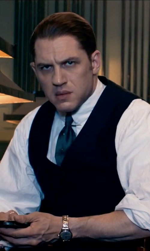 Tom Hardy with David Donahue Silk Vest in Legend