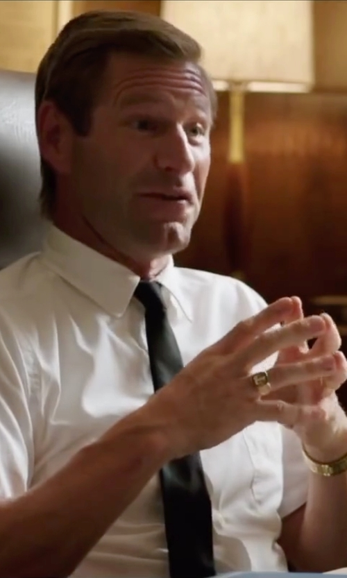 Aaron Eckhart with Lucien Piccard Stainless Steel Watch in My All American