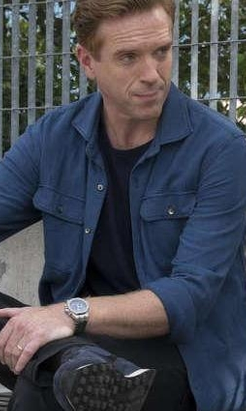 Damian Lewis with Shinola Runwell Leather Watch in Billions