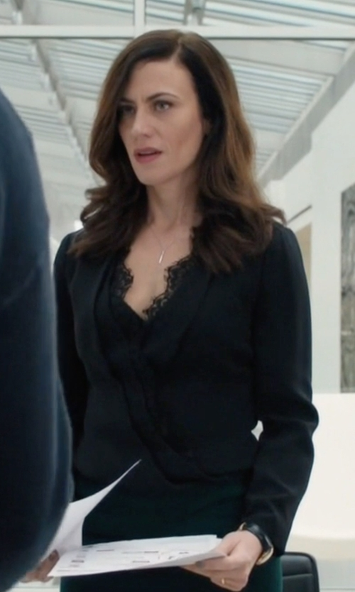 Maggie Siff with L'agence Gia Long-Sleeve Silk Wrap Blouse in Billions