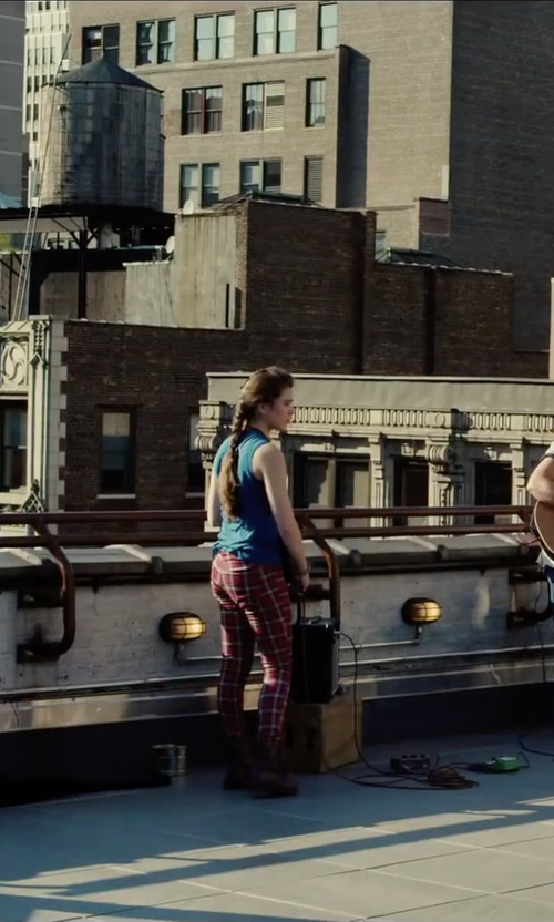 Hailee Steinfeld with Karl Lagerfeld Macpherson Tartan Wool And Faux Leather Pants in Begin Again