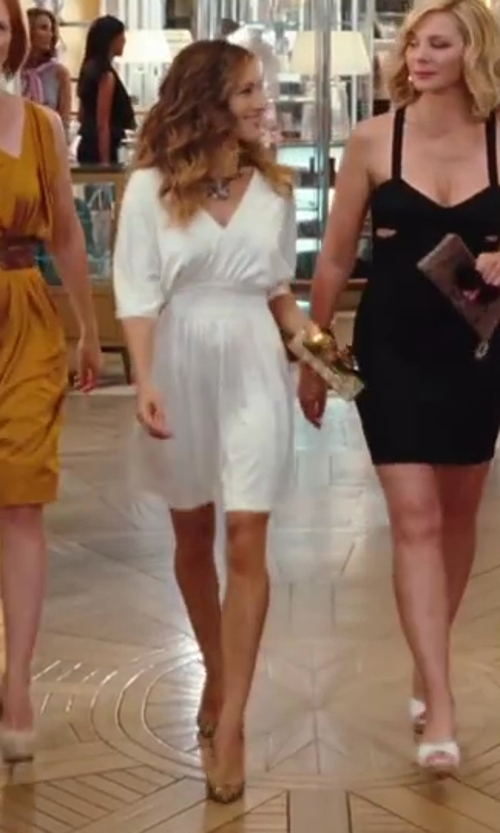 Sarah Jessica Parker with Christian Louboutin Pigalle Gold Stiletto Shoes in Sex and the City 2